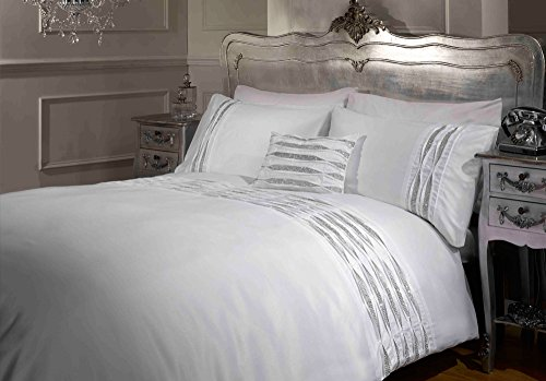 Belle Amie Crystal Duvet Set with Matching Pillowcases, White, Single