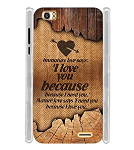 Mature Immature Love Manly Soft Silicon Rubberized Back Case Cover for Lava Pixel V2