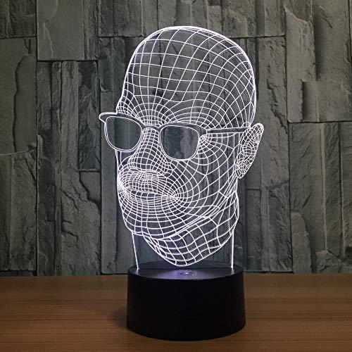 3D LED Nachtlicht Person mit Sonnenbrille Optische 3D Illusions Lampen Tischlampe Nachtlichter für Kinderzimmer Wohnzimmer