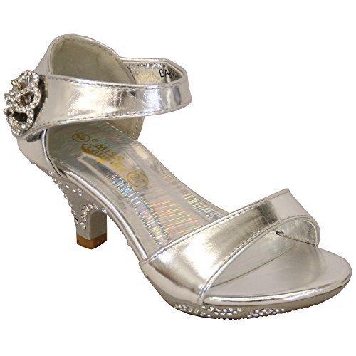 Sandales Fille Enfants Bout Ouvert Talon Moyen Verni Look Diamant Chaussures De Soirée Mariage Argent - BABY1