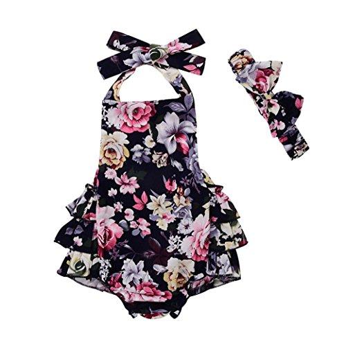 style_dress 3PCS Baby Kleidung Neugeborenes Kinder Baby Mädchen Spielanzug Strampler Tops+Tutu Rock Outfits Set Bekleidungsset Spielanzug Set (Schwarz, 3-6 Monate)