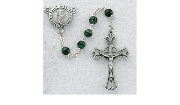 5a9c7e1bedb Green and Black St. Patrick Irish Catholic Rosary Beads - This Irish Rosary  Has 7mm Green and Black Glass Beads with a New England Pewter Crucifix and  a New ...