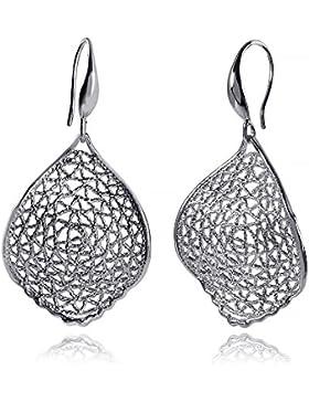 MATERIA 925 Silber Ohrhänger filigran Netzoptik 21x40mm - Damen Ohrringe Silber lang breit #SO-196