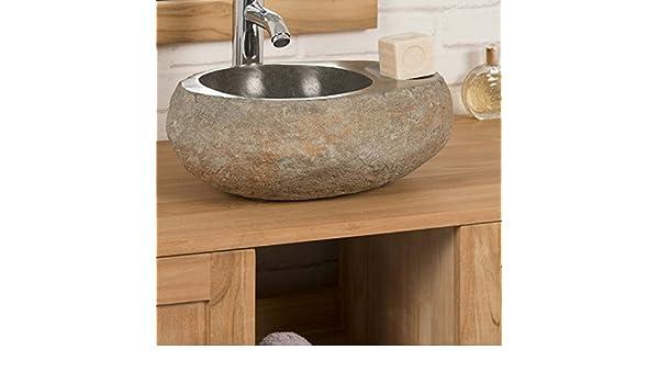 9dcc7bc6d4c3e3 wanda collection Vasque à Poser en Galet DE Riviere 35 cm Porte Savon   Amazon.fr  Cuisine   Maison