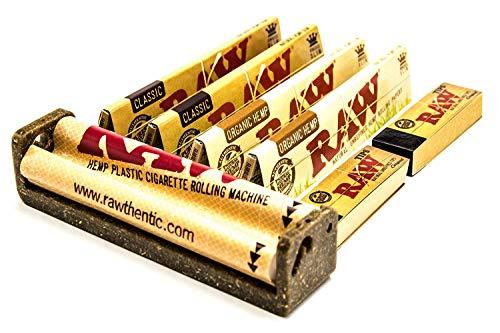 Raw King Size Zigarettenroller mit 4 Raw King Size Zigarettenpapierpäckchen und 2 Broschüren mit Raw Zigarettenrolltipps -