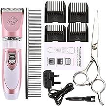 Pet Grooming Cortauñas, akemiao profesional eléctrica ovejas perro Hair Remover Shaver–Batería con Recortar Kit Set, rosa