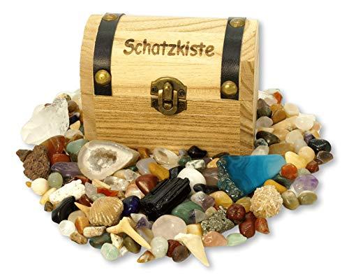 Schatzkiste gefüllt mit Mineralien, Edelsteinen und Fossilien und vielen weiteren Schätzen der Natur! Ideal für Kinder bei der Schatzsuche, zum Spielen, Entdecken und Ausgraben oder als Geschenk