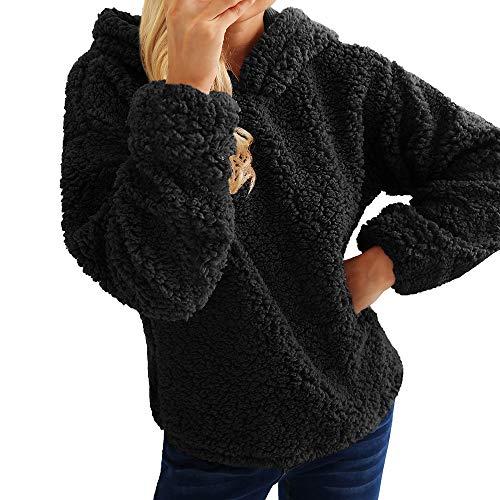 Preisvergleich Produktbild Sannysis Damen Pullover Langarmshirt Elegant Warmer Künstlicher Wollmantel mit Kapuze Sweatshirt Winter Parka Oberbekleidung Kapuzenjacke