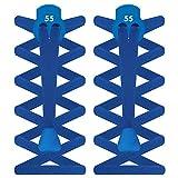 55Sport Elastische Schnürsenkelstopper, flaches Design, damen Herren Kinder, kobaltblau, Einheitsgröße