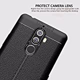 Rapid Zone (Combo Offer Free Tempered Glass) Auto Focus Shock Proof Leather Pattern Armor Soft Back Case / Cover For Lenovo K8 Note - Black