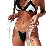 QIYUN.Z Frauen Micro Thong Boden Abnehmbare Pad Mini Bikini Top Verstellbarer Halter Badeanzug G String