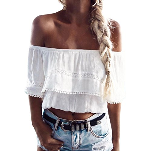 TUDUZ Elegant Oberteile Damen Off Shoulder Chiffon Bluse Top T-Shirt (Weiß, M)