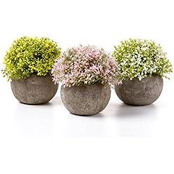 T4U Künstliche Blumen Bonsai Kunstpflanze mit grauen Topf, für Hochzeit/Büro/Zuhause Dekoration - Blüten in Weiß, Gelb, Rosa, 3er Set