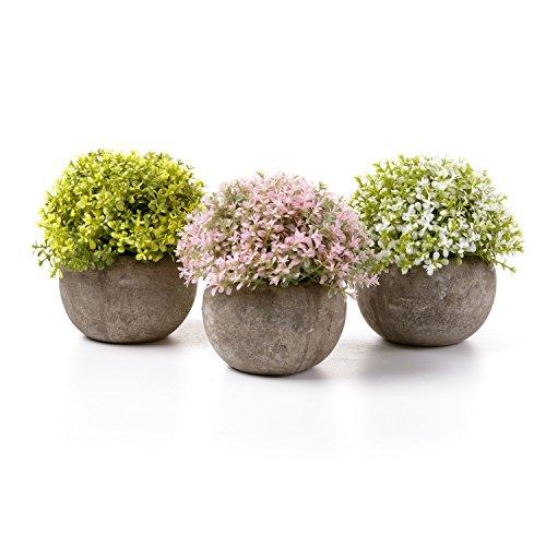 T4U Plantas Artificiales Plásticas Flor Decorativa en Maceta Oficina en Casa Paquete de 3