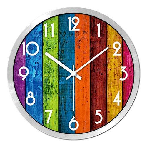 Horloges Métallique Murale Rond et Montres Quartz Grain de Bois Rétro Balayer Les Secondes Muet Silencieux Convient pour la Chambre et Le Salon