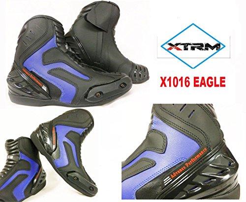 MOTORRADSTIEFEL PADDOCK XTRM X1016 SHORT EAGLE STADT STIEFEL TOURENSCHUHE ALLE FARBEN (46, BLAU)