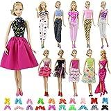ZITA ELEMENT 20 Stück Mode Puppensachen für Fashionista Puppe Bekleidung Kleider Kleidung 10 Set Puppenkleidung mit 10 Paare Schuhe Handgefertigte Outfits