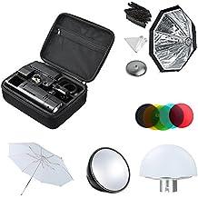 Godox AD200 200Ws 2.4G TTL Flash Strobe 1/8000 HSS Sin Cable Monolight +AD-S7 Softbox +AD-S2 Reflector Estándar+AD-S11 Filtro +AD-S17 +AD-S5 Reflector Paraguas+ LETWING Paño(AD200kit1)