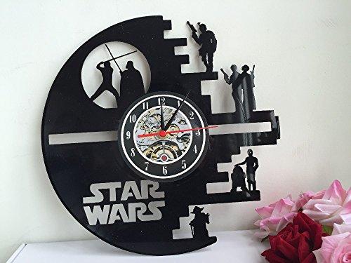 51vye6269dL - Meet Beauty Vinyl Star Wars Death Star diseñado Reloj de Pared LP Record -Decorate tu hogar con Moderno Grande Darth Vader Classic Vintage Art 30CM Círculo Negro