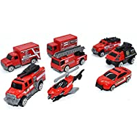 VANTIYA Pumper Fire Truck Toys(6 PCS) Fire Engine Truck Car Toy Set, Push Car Toys for Boys Birthday Gift,Vehicle Gift Set