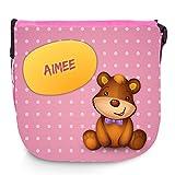 Umhängetasche mit Namen Aimee und süßem Bären-Motiv | Schultertasche für Mädchen