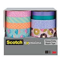Scotch Expressions Washi Tape Multi Pack, 8 rolls/pk, Pastel, Cupcakes and Donuts Collection (C1017-8-P2)