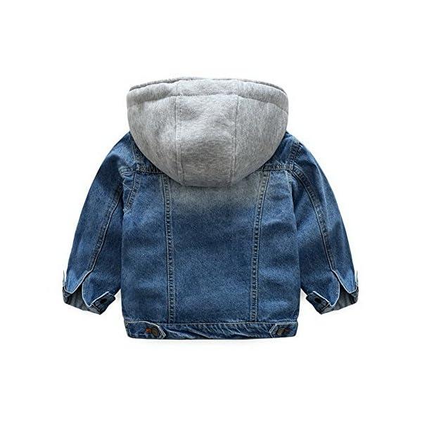Odziezet Chaqueta Vaquera Niño Niña Demin Jacket con Capucha Abrigo Bebé Camisa 1-7 Años 2