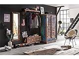 Woodkings Flur Set Woodend, Akazie massiv, Flurmöbel Set vintage, Spiegel, Holzbank, Garderobe kombiniert mit Kleiderschrank aus der Wakefield Serie