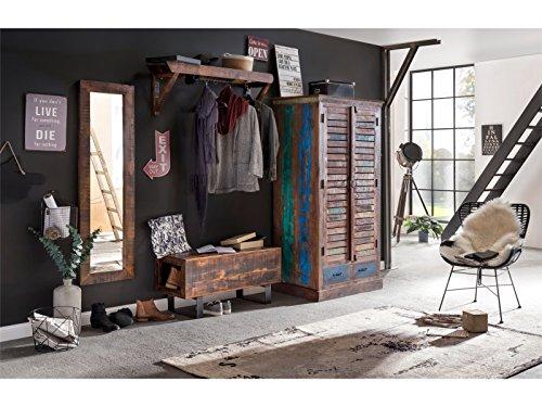 Woodkings® Flur Set Woodend, Akazie massiv, Flurmöbel Set vintage, Spiegel, Holzbank, Garderobe kombiniert mit Kleiderschrank aus der Woodkings Wakefield Serie