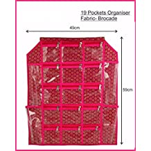 Kuber Industries Satin Make up Accessories Wall Hanging, Maroon