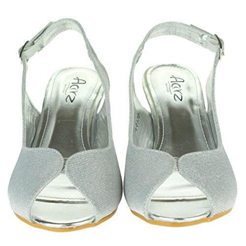 Femmes Dames Shimmery Soir Mariage Fête Bal de promo De mariée Peeptoe Slingback Talon compensé Des sandales Chaussures Taille Argent