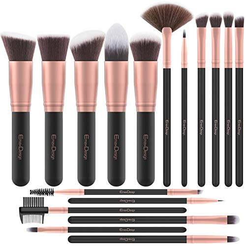 Brochas de Maquillaje EmaxDesign 17 piezas Pinceles de maquillaje professional fibra sintética para las cejas, base de maquillaje, polvos, crema, Set de brochas de maquillaje (Rose Golden)