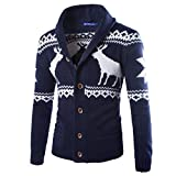 Herren Pullover, GreatestPAK Winter Weihnachten Strickjacke Strickwaren Manteljacke Sweatshirt (Marine, L)