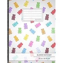 """Blanko Notizbuch • A4-Format, 100+ Seiten, Soft Cover, Register, """"Gummibären"""" • Original #GoodMemos Blank Notebook • Perfekt als Zeichenbuch, Skizzenbuch, Sketchbook, Leeres Malbuch"""