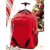 Rucksack Trolley rot Daypack mit gepolstertem Laptopfach 34x52x28cm Rucksacktrolley mit 2 seitlichen Netzfächer
