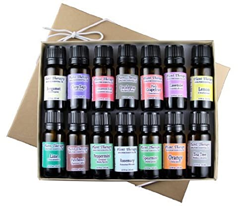 Top 14 Essential Oil Set. Includes 100% Pure, Therapeutic Grade Oils of Bergamot, Clary Sage, Cinnamon, Eucalyptus, Grapefruit, Lavender, Lemon, Lime, Patchouli, Peppermint, Rosemary, Spearmint, Orange & Tea Tree. 10 ml each. by Plant Therapy Essential Oils
