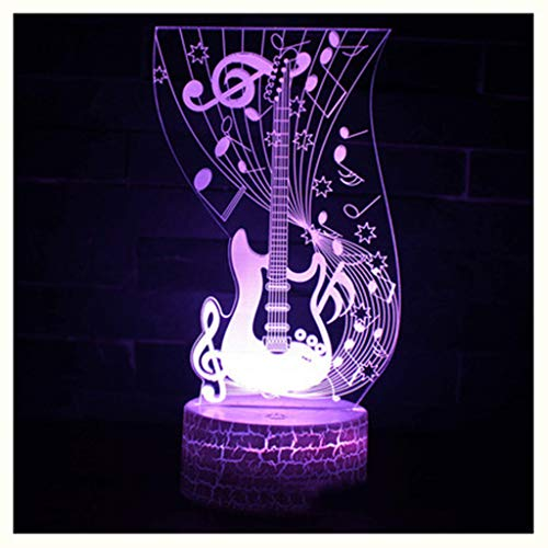 NIUZIMU 3D Nachtlicht, Musikinstrument Serie 3D Nachtlicht LED Bunte Touch Fernbedienung Schreibtischlampe USB Kreative, 3D Nachtlicht (Stil : D)