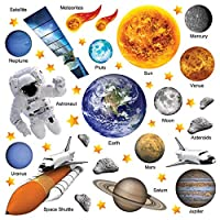 THE ULTIMATE EDUCATIONAL SPACE SOLAR SYSTEM WALL STICKERS COLLECTION, M14 PhotoRealAstro SSYS.3.L, Large Glossy 70cm by 60cm Vinyl, 58-Piece Set, Multi Color.
