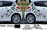 XL Set - Autoaufkleber - Hibiskus Blumen & Schmetterlinge - 70 teilig (schwarz glänzend)