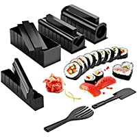 BEAUTYBIGBANG 10PCS Kit Sushi Maki Complet, Cuisine Machine Sushi Maker Ustensiles avec Couteau + Tapis Rouleaux pour…