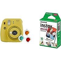 Fujifilm Instax Mini 9 Yellow Fotocamera per Stampe, Formato 62 x 46 mm, Giallo & Instax Mini Film Pellicola Istantanea…