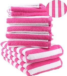 10 tlg. Badetuch Duschtuch Handtücher Set Duschtücher Handtücher STREIFEN Farbe Fuchsia 100% Baumwolle 2 Duschtücher 4 Handtücher 2 Gästetücher 2 Waschhandschuhe
