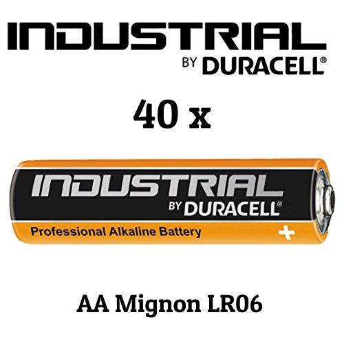 Duracell industrial lot de 40 piles aA alcalines piles lR06 (piles incluses)
