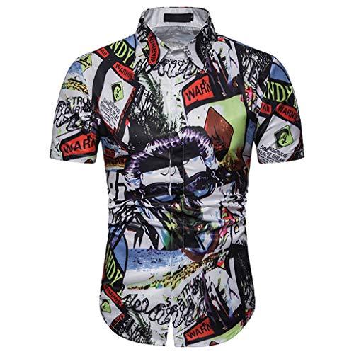 Shirt Männer Sommer Casual Persönlichkeit Zeichen Drucken Kurze Ärmel Bluse(X-Large,Weiß) ()