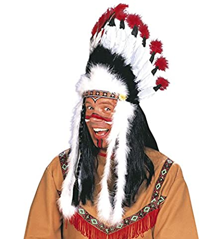 Indian Headress Sitting Bull Accessory for Wild West Cowboy Fancy Dress