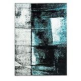 carpet city Teppich Moda Flachflor Kurzflor mit Melierten Design, Abstrakt, Modern in Türkis, Grau, Schwarz; Größe: 190x280 cm