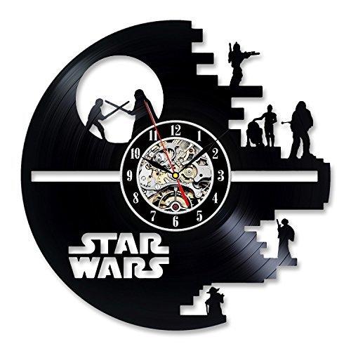 Gullei.com Reloj de pared con diseño de vinilo de música, regalo para los amantes de Star Wars