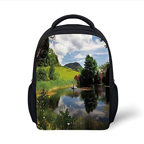 Kids School Backpack Nature,Lake Meadow in a Sunny Day Rural Country Valley Scottish Summertime Landscape,Multicolor Plain Bookbag Travel Daypack