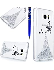 EUWLY Coque Samsung Galaxy Note 8,Housse Samsung Galaxy Note 8,Samsung Galaxy Note 8 Gel Souple Étui en Silicone TPU,Bling Bling Brillant Scintillant Transparente Crystal Silicone Ultra Mince Case Cover Telephone Portable Soft Housse Cas Prime Flex Silicone Skin Euit de Protection Shell Couverture pour Samsung Galaxy Note 8 + Stylet Bleu,Argent