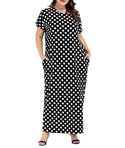 Dot Print Kurze (Qianliniuinc Muslimische Frauen Mode Oversize Kurze ärmel Print Dot Black Ausgehuniformen mit Pocket Locker Kaftan)